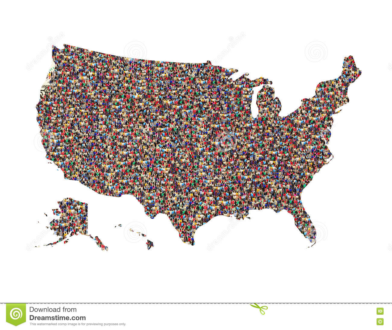 Map Of USA With People Isolated Stock Photo Image - Us map with people