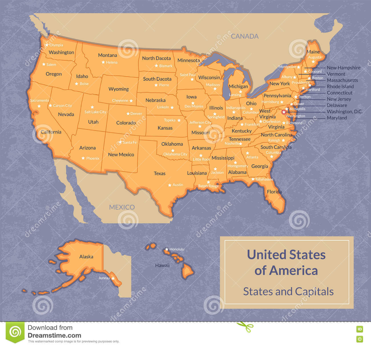 Map Of USA With States And Their Capitals Stock Vector ...