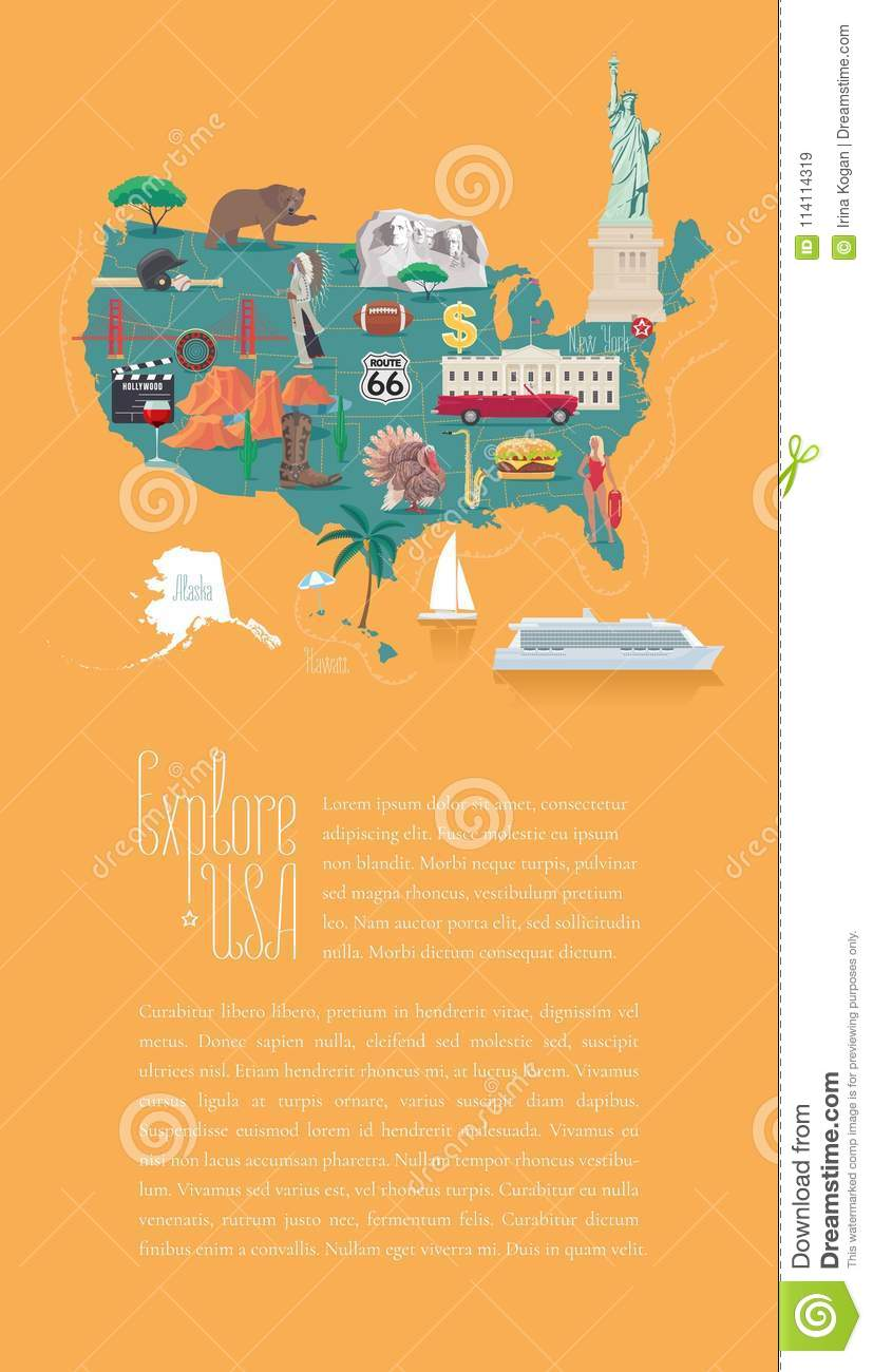 Map Of America Hollywood.Map Of Usa Vector Illustration Design Editorial Stock Image