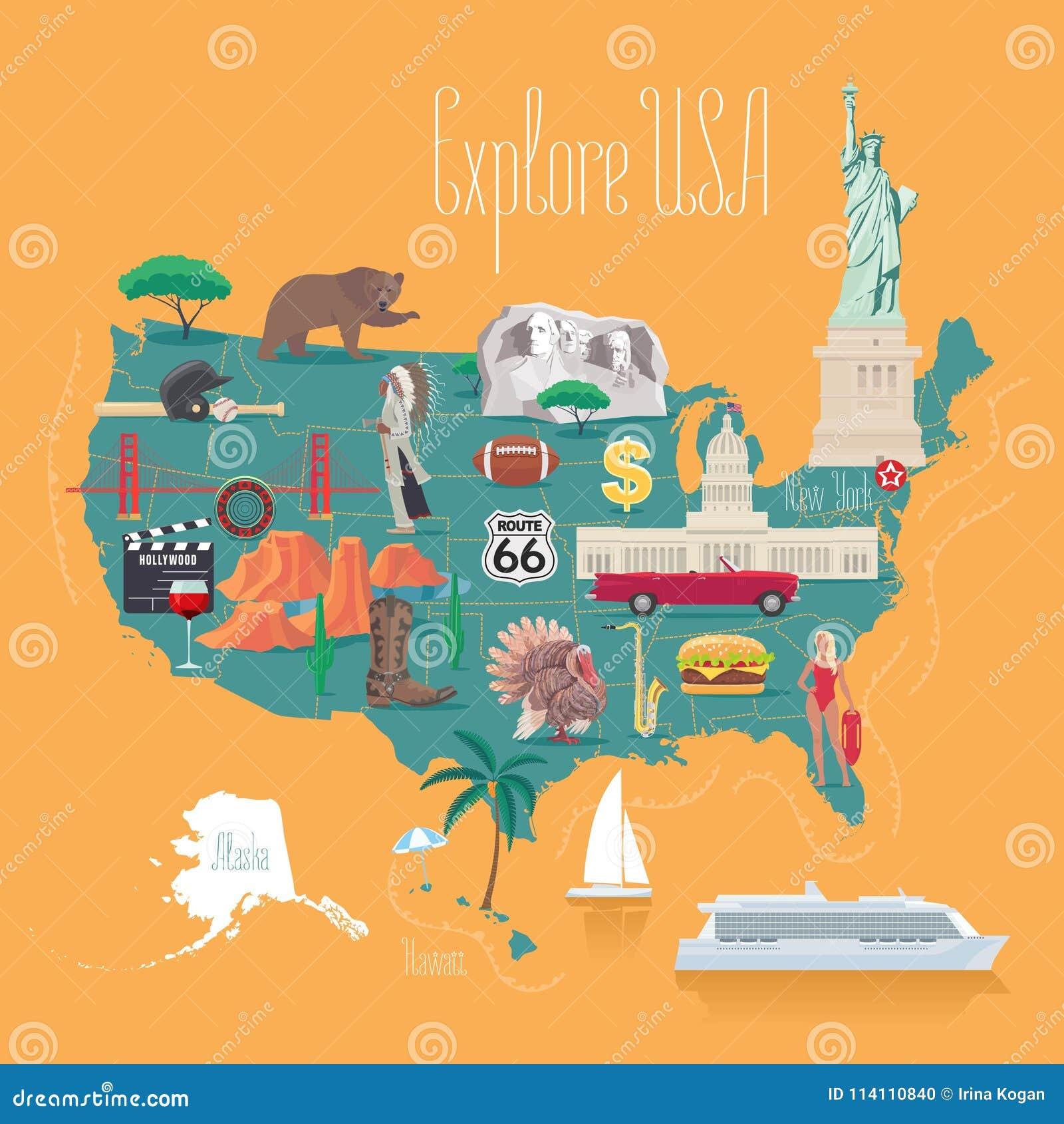 Map Of USA Vector Illustration, Design Stock Vector - Illustration ...
