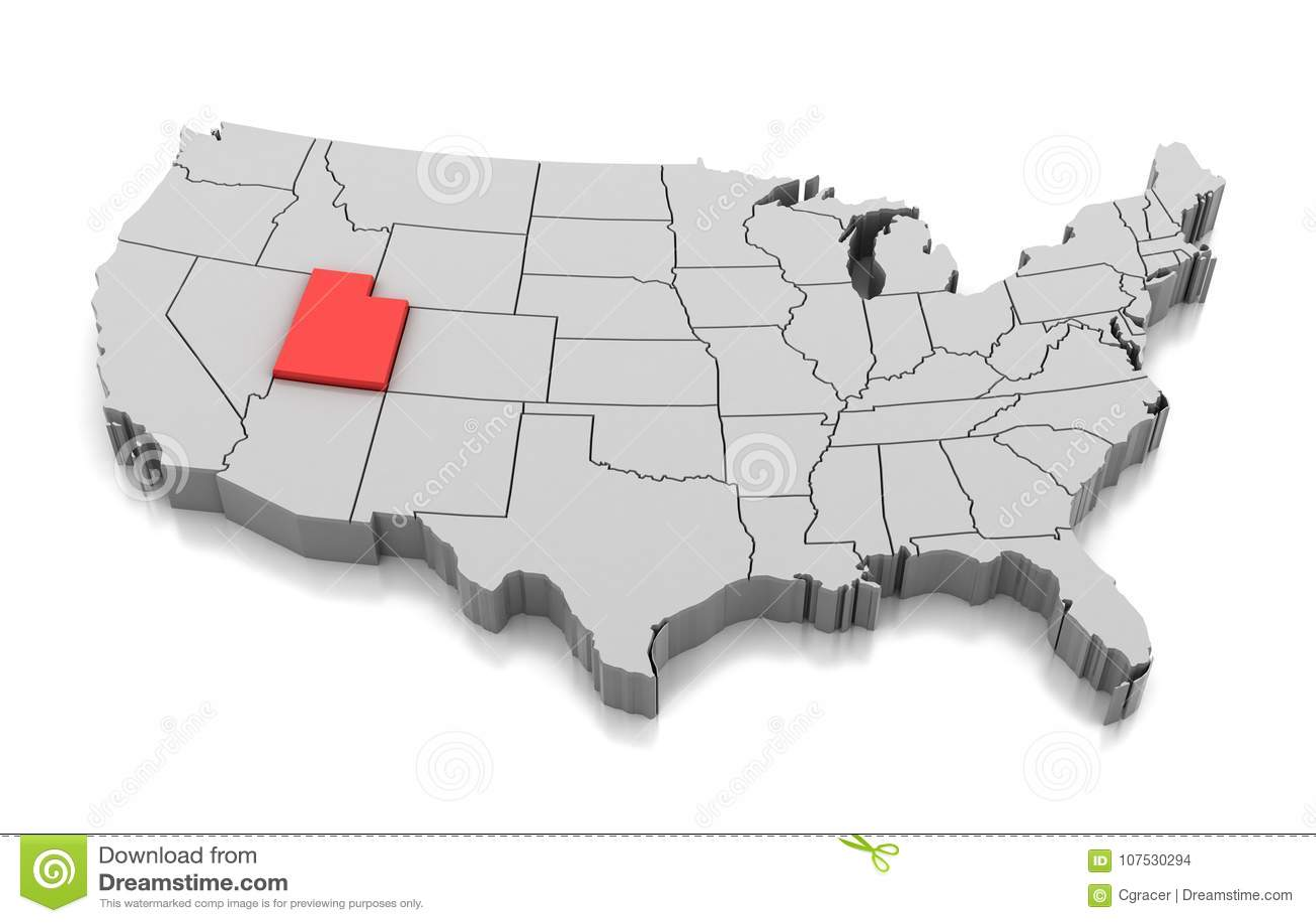 Utah In Usa Map.Map Of Utah State Usa Stock Illustration Illustration Of American