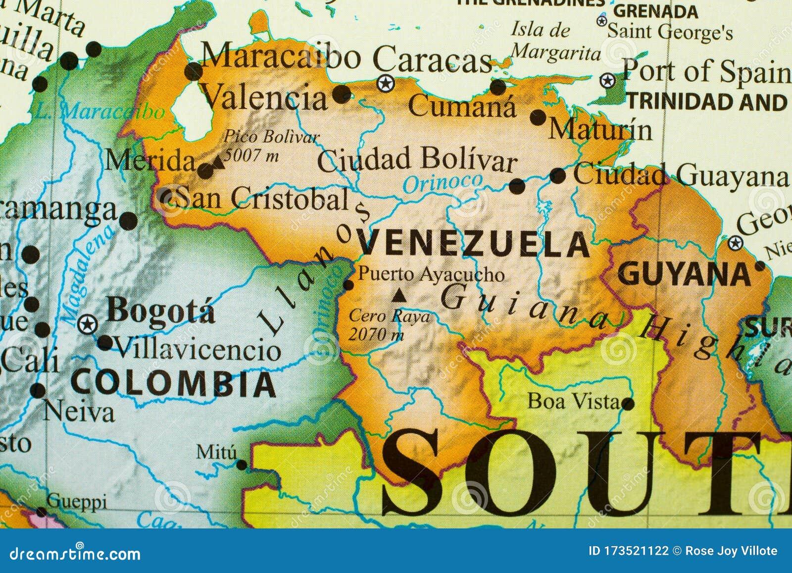 Map Of Venezuela Stock Photo Image Of Capital City 173521122