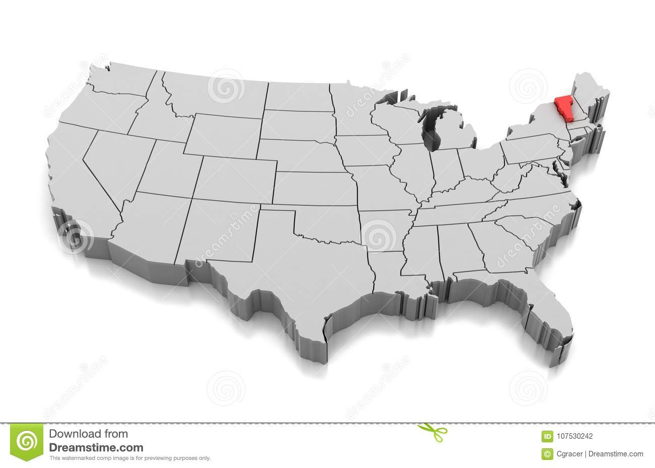 Map of Vermont state, USA stock illustration. Illustration of united ...
