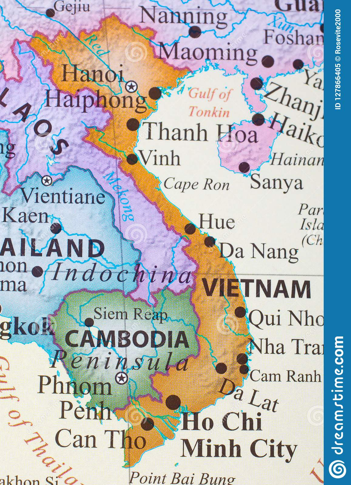 Map of Vietnam stock image. Image of continental, countries - 127866405