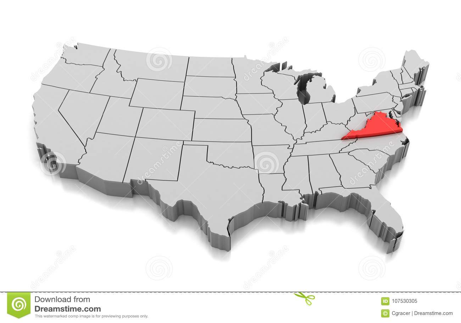 Map Of Virginia State Usa Stock Illustration Illustration Of
