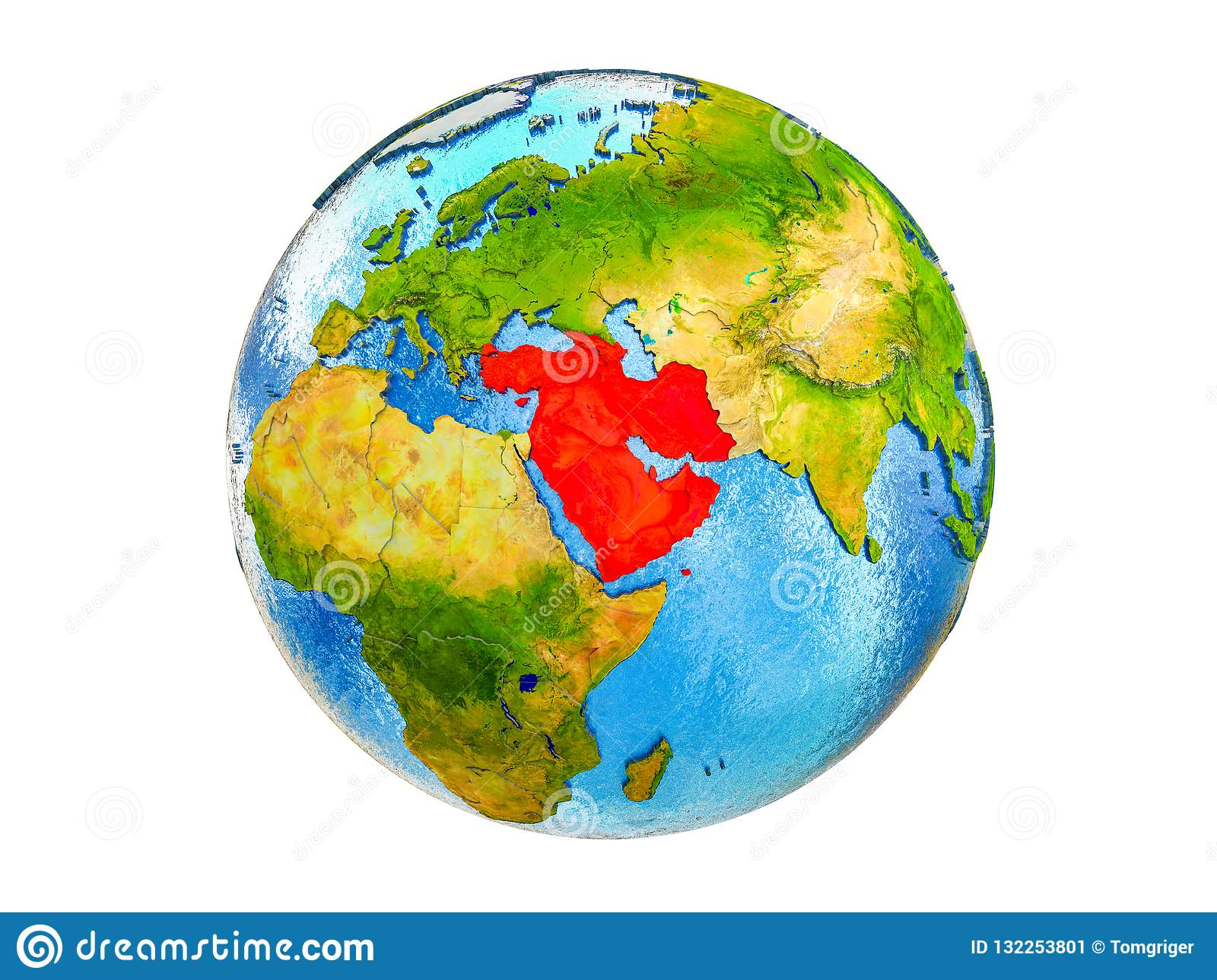Map Of Western Asia On 3D Earth Isolated Stock Image - Image of ...