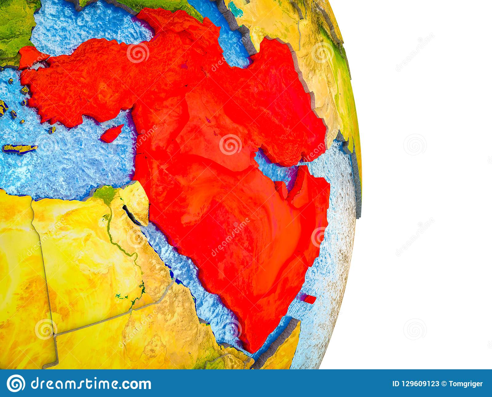 Map Of Western Asia On 3D Earth Stock Illustration - Illustration of ...