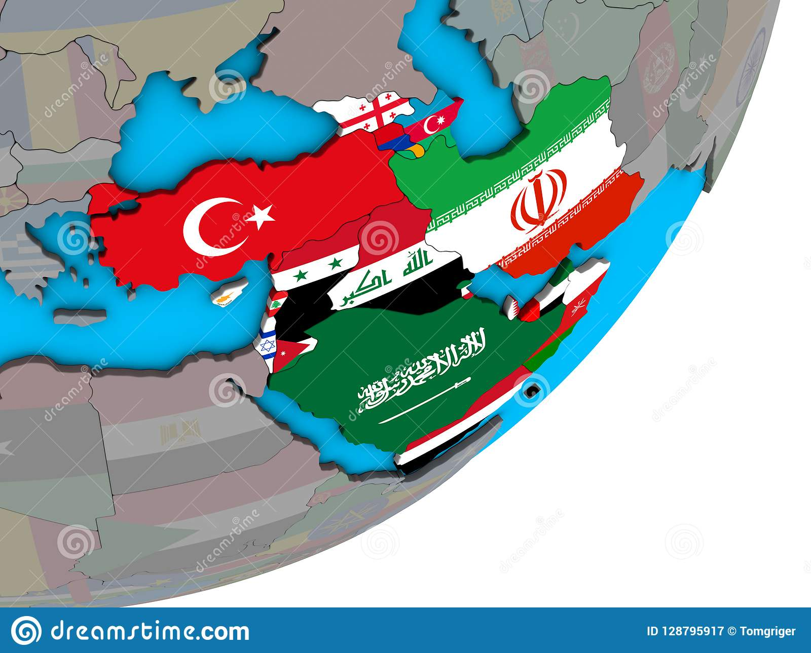 Map Of Western Asia With Flags On Globe Stock Illustration ...