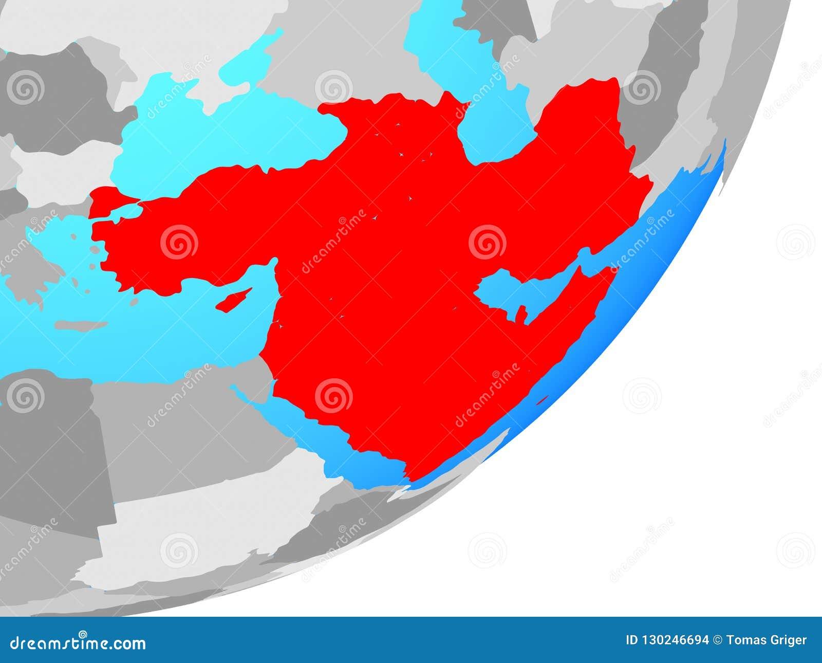 Map Of Western Asia On Globe Stock Illustration - Illustration of ...