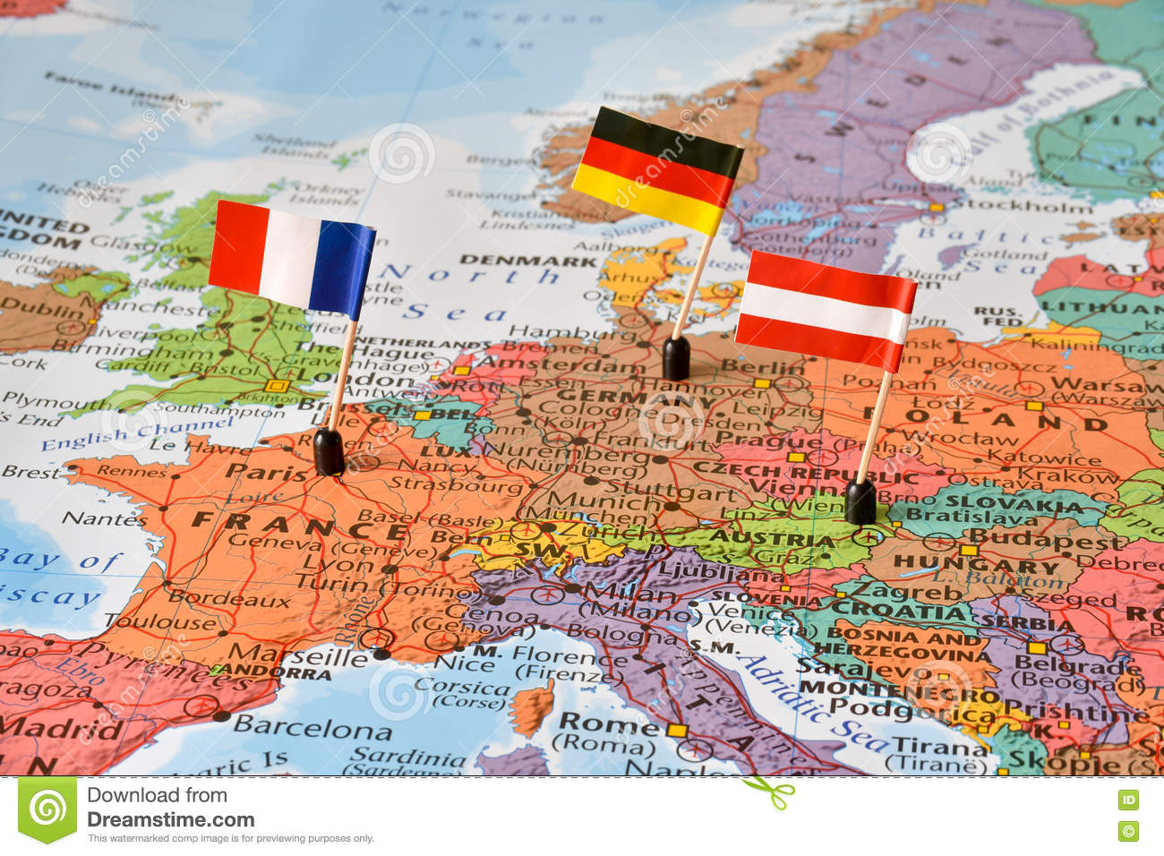 Map Of France And Europe.Map Of The Western Europe Countries Germany France Austria Stock
