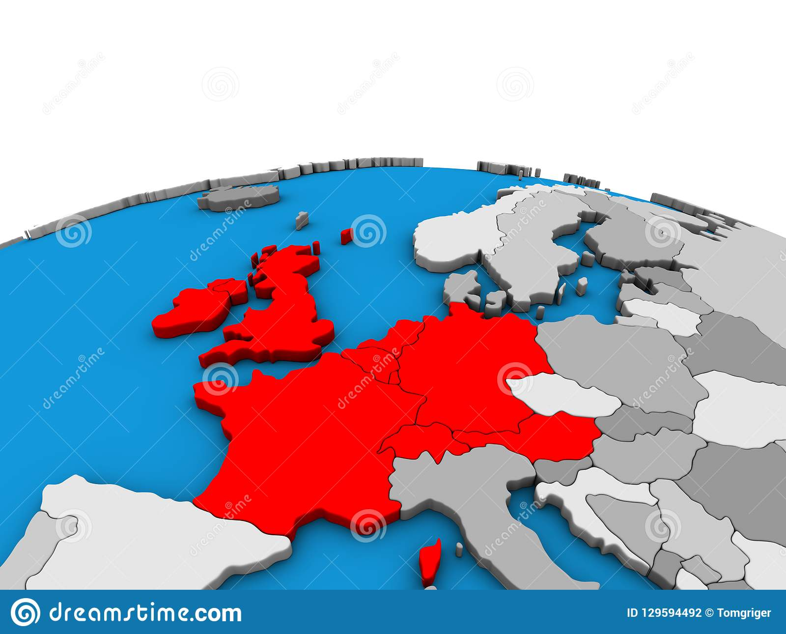 Map Of Western Europe On 3d Globe Stock Illustration Illustration