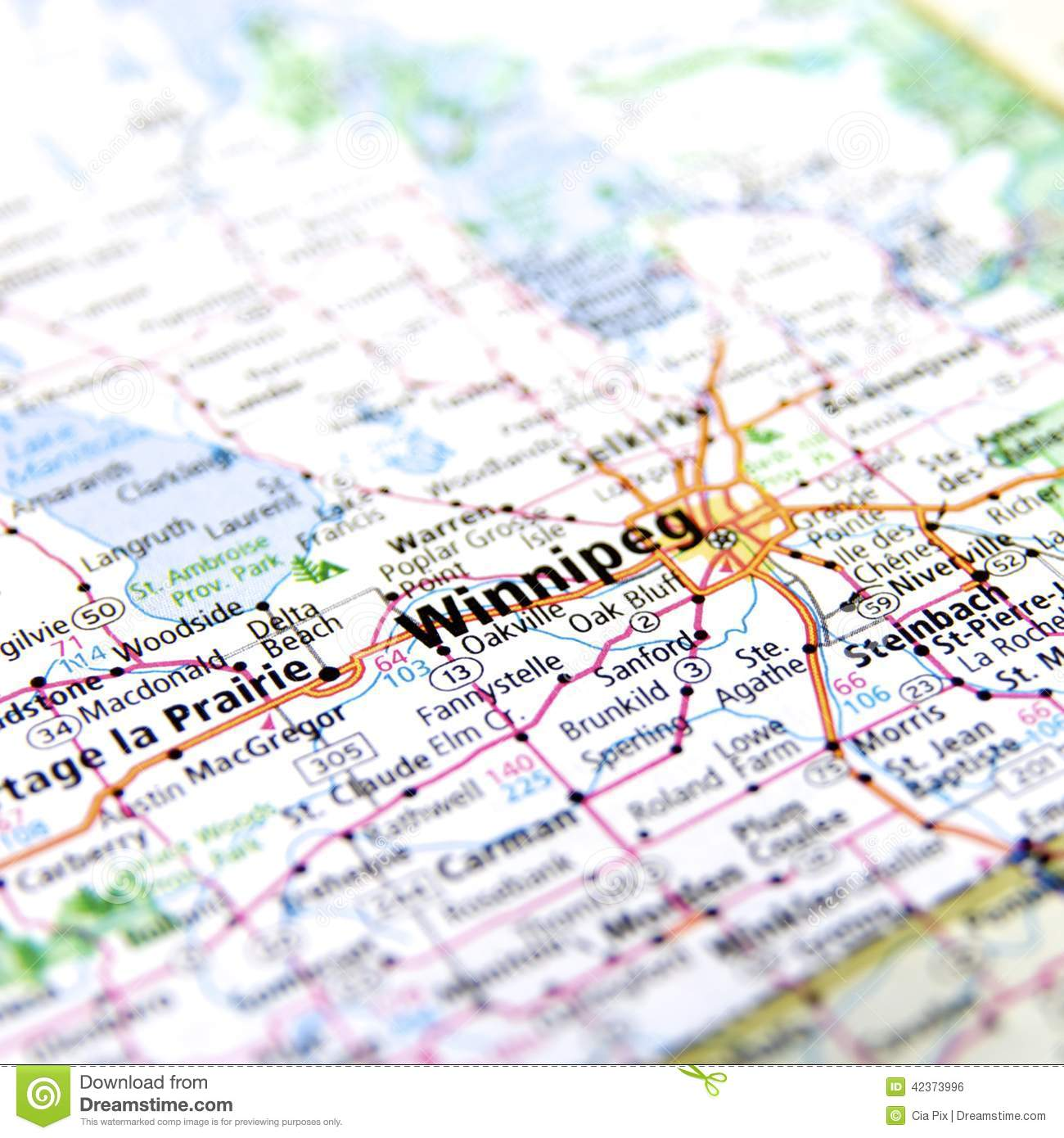 Map Of Winnipeg In Canada Stock Photo Image Of Geographical 42373996