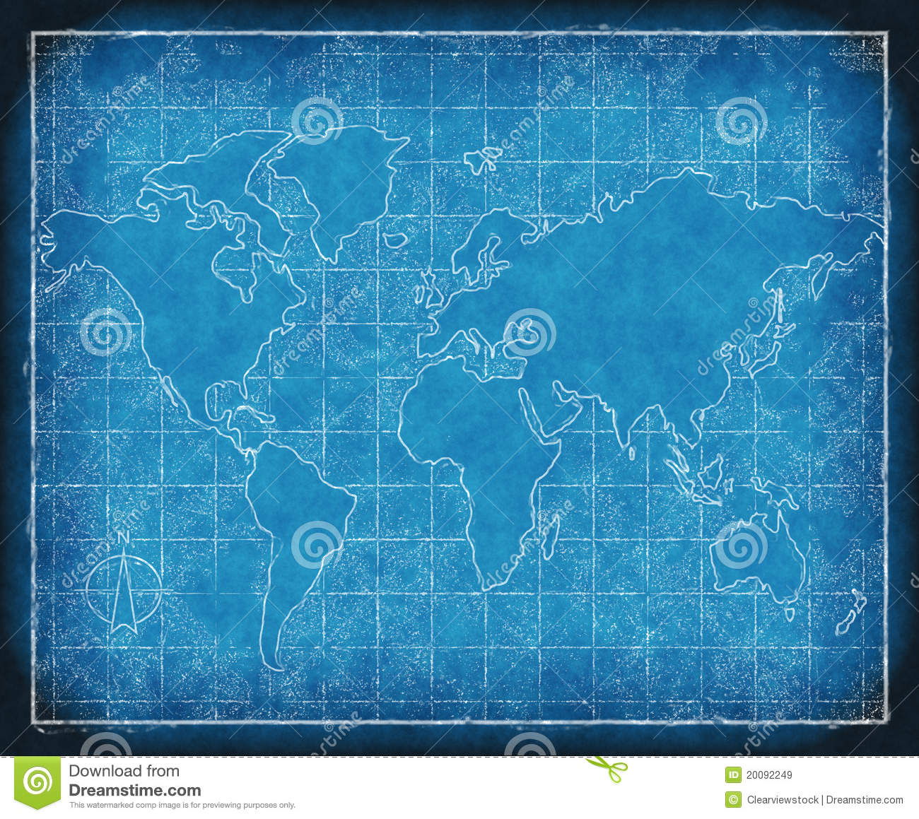map of the world blueprint stock illustration illustration of