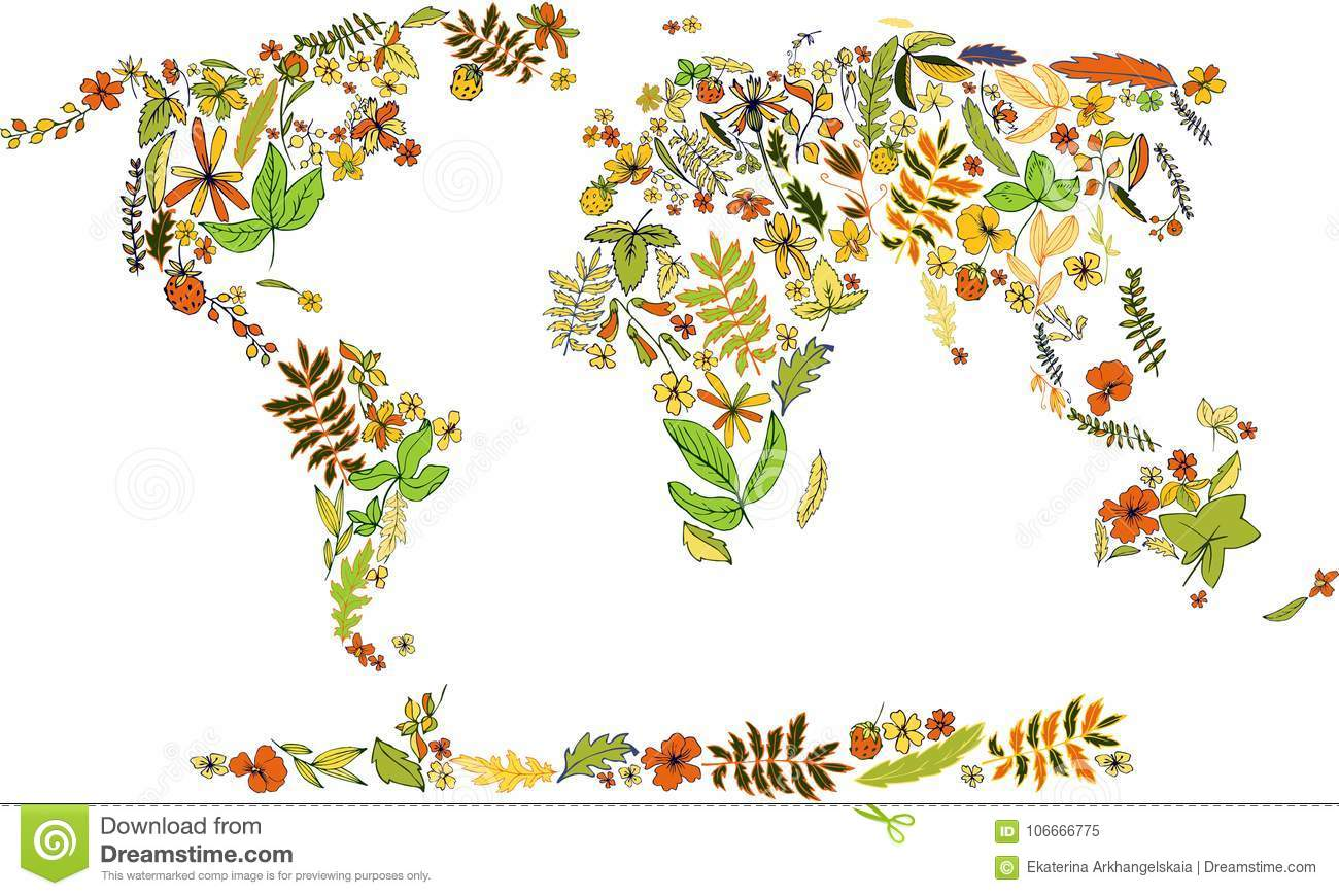 Flower Concept Map.Map Of World Covered By Plants And Leaves Stock Vector