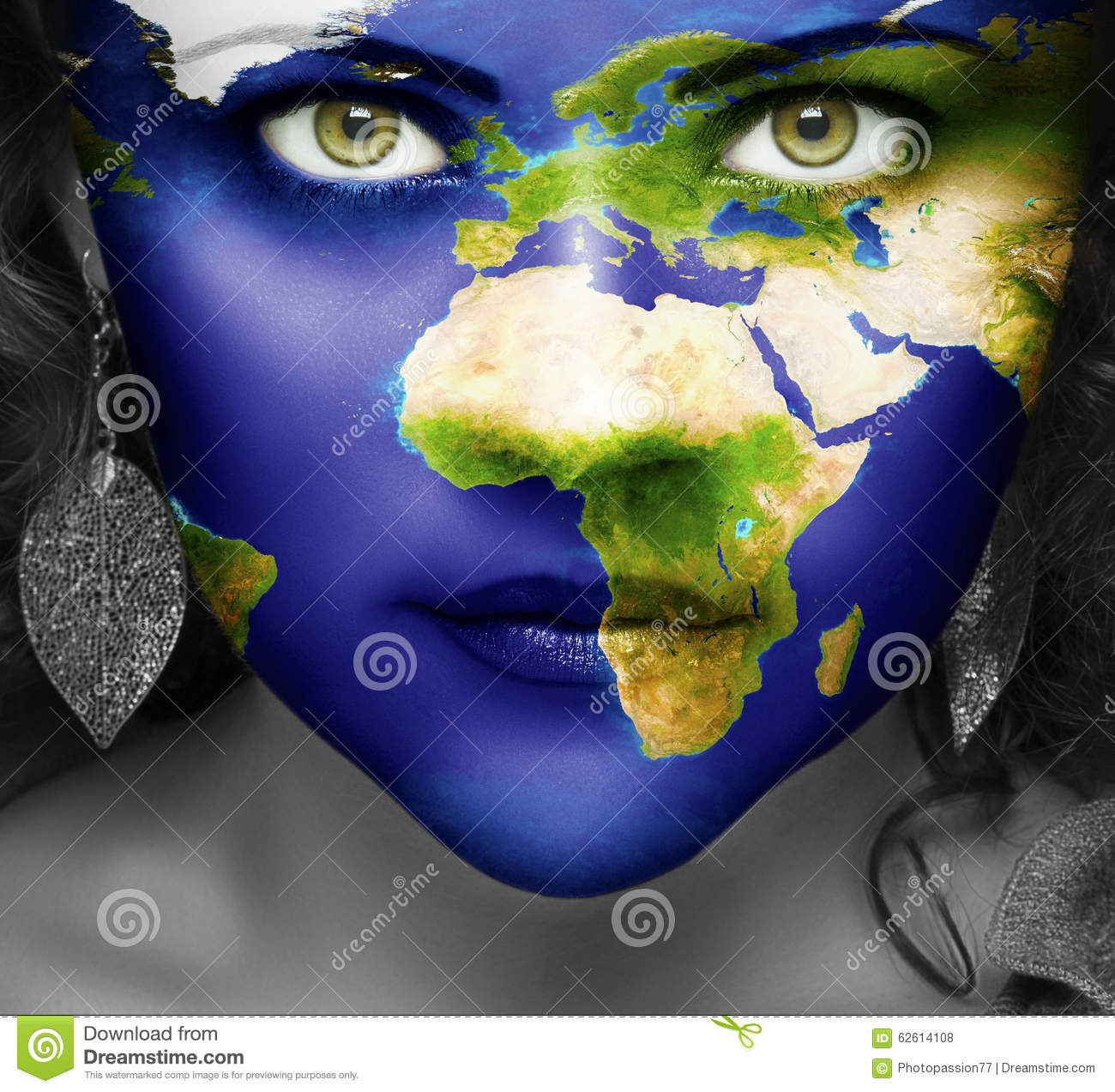 Map Of The World On Face Of Girl Stock Photo Image Of Australian
