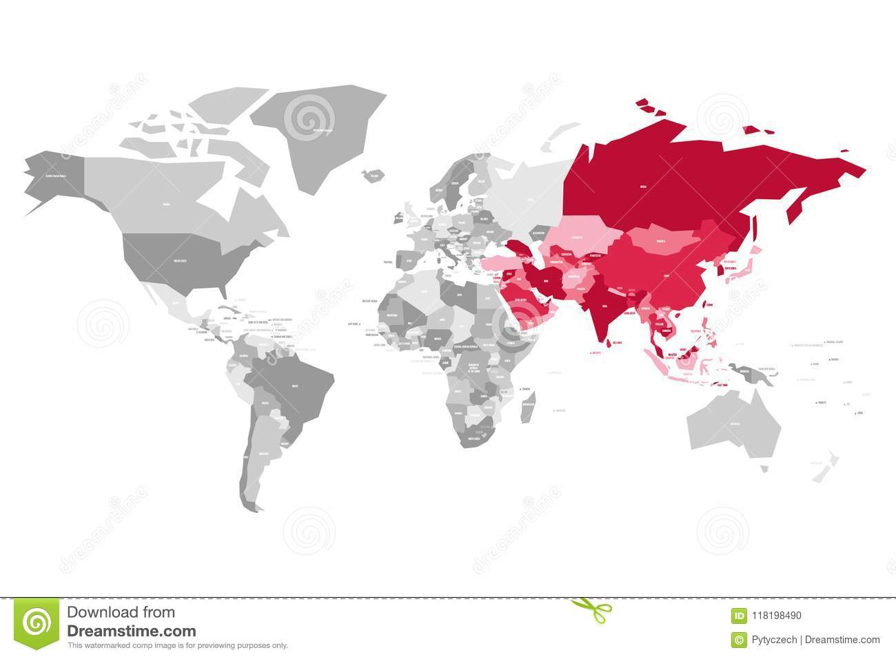 Map Of World In Grey Colors With Red Highlighted Countries Of Asia ...