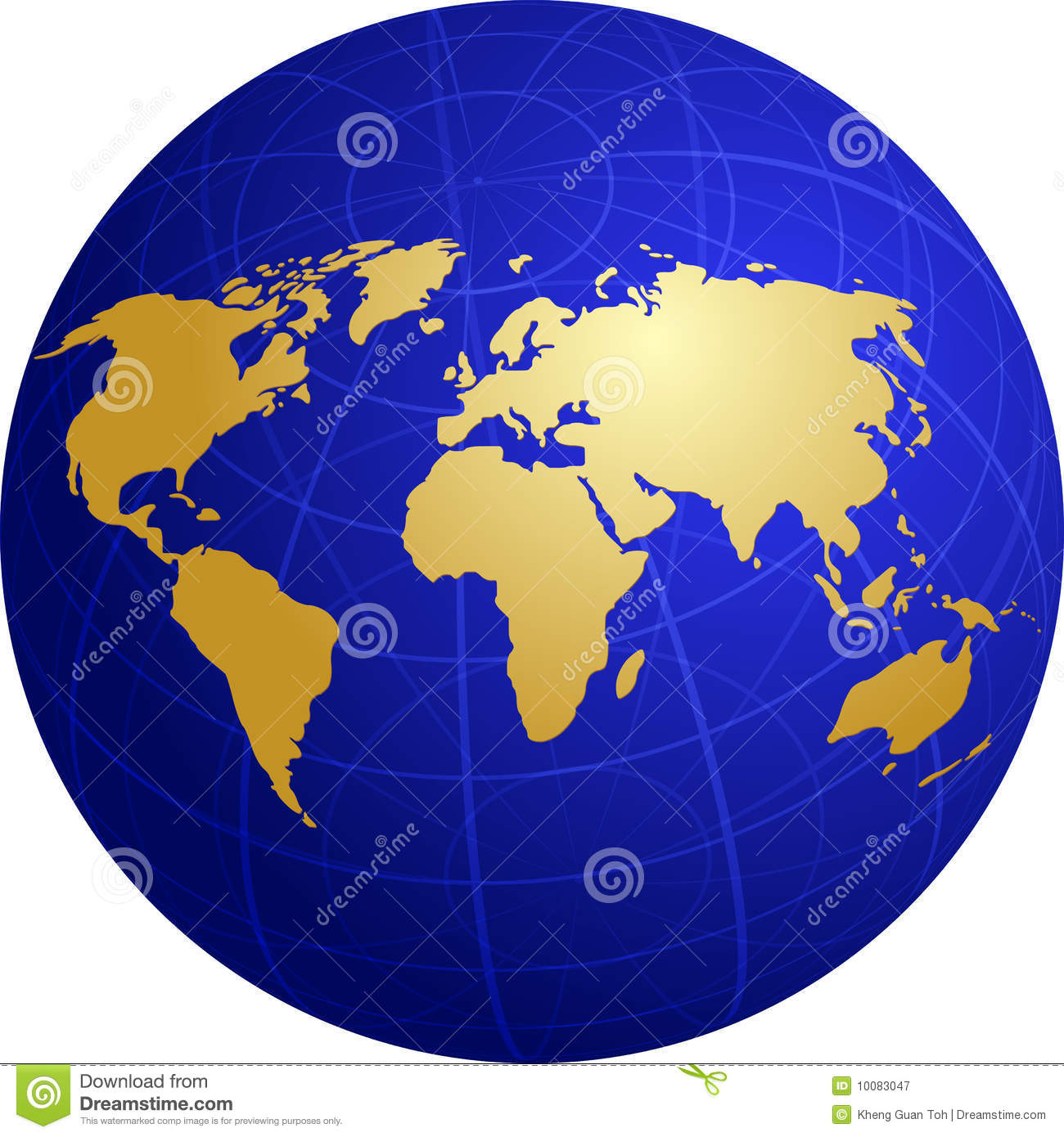 Map Of The World Illustration On Globe Grid Stock