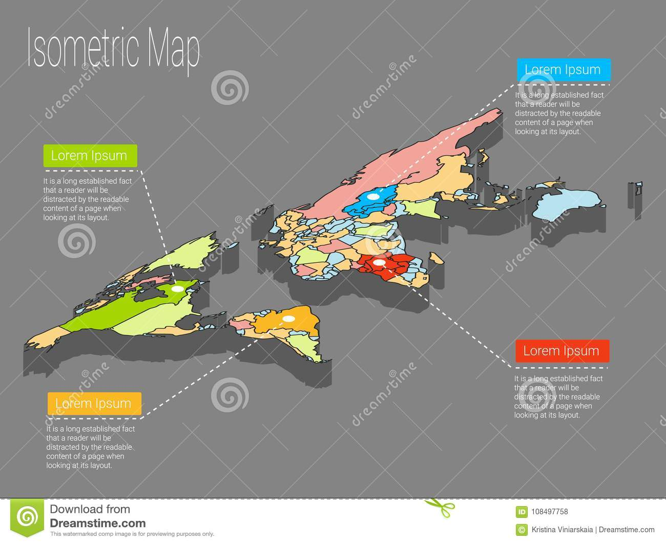 Map world isometric concept 3d flat illustration stock vector download comp gumiabroncs Image collections