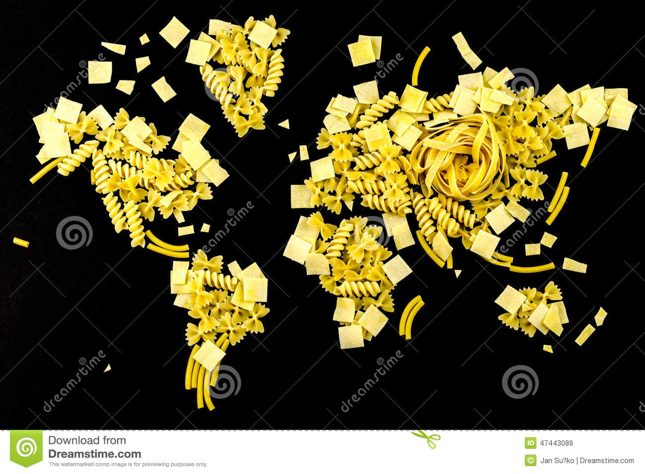 Map of the world made of raw pasta on fabric background stock image map of the world made of raw pasta on black background royalty free stock images gumiabroncs Image collections