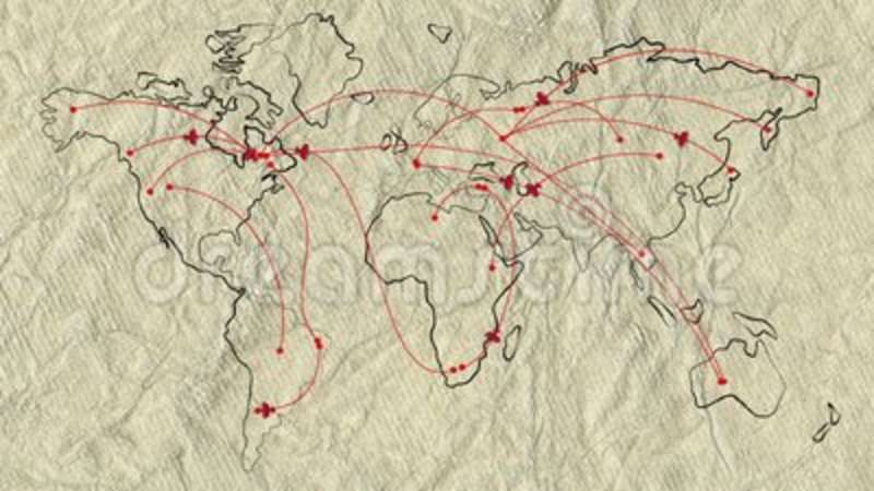 Map Of The World On Old Paper With Flat Animated Retro Planes Stock