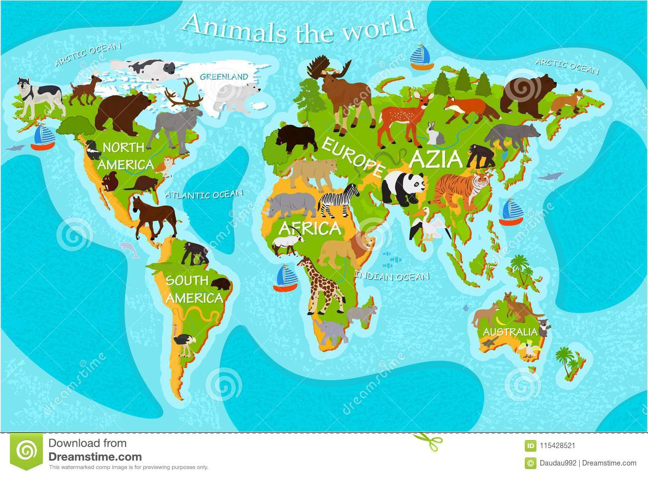 Map Of World With Names.Map Of The World S Animals With The Names Of The Continents Stock
