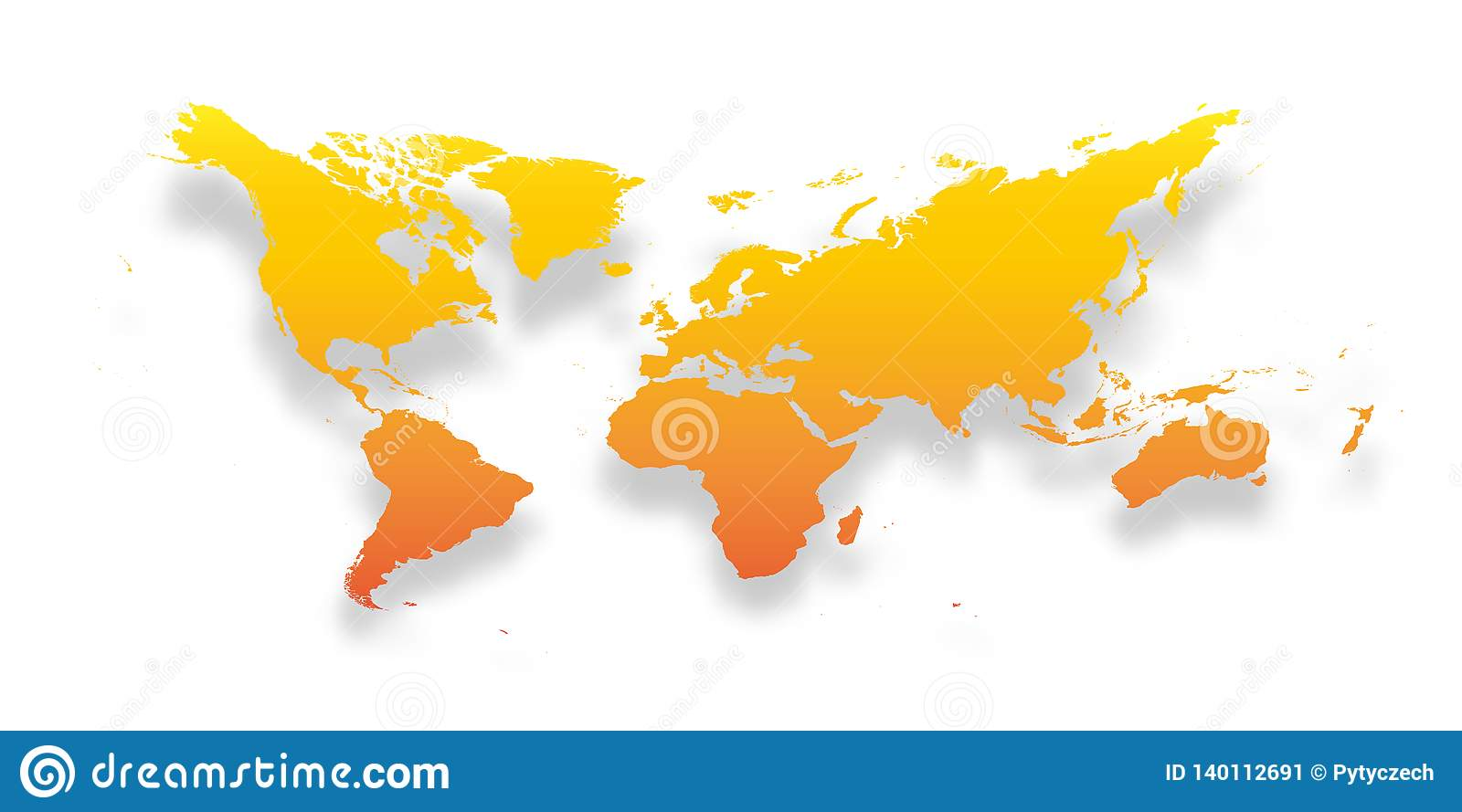 Map Of The World Simple.Map Of World Simple Yellow Orange Gradient Silhouette With Dropped