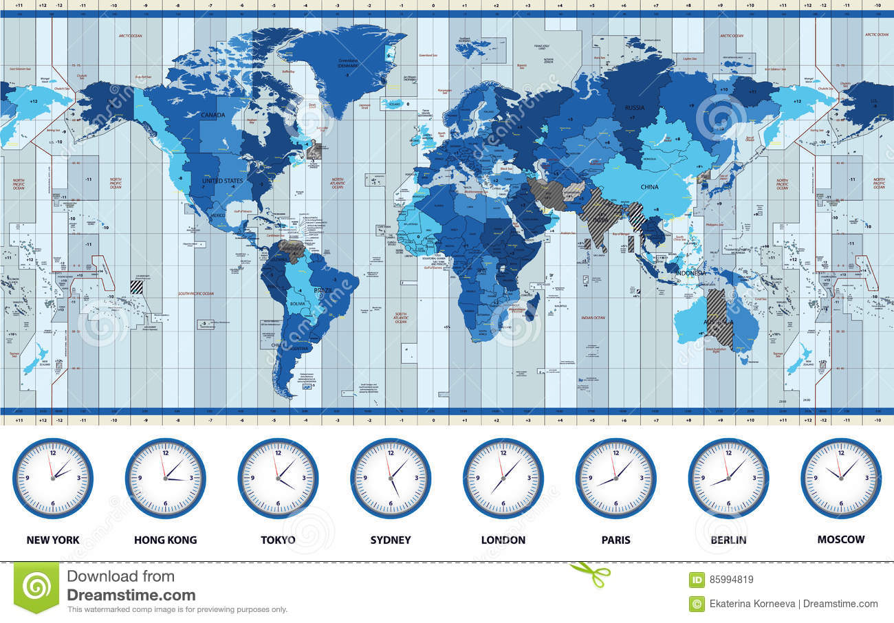 Map Of The World Standard Time Zones In Blue Colors Stock ...