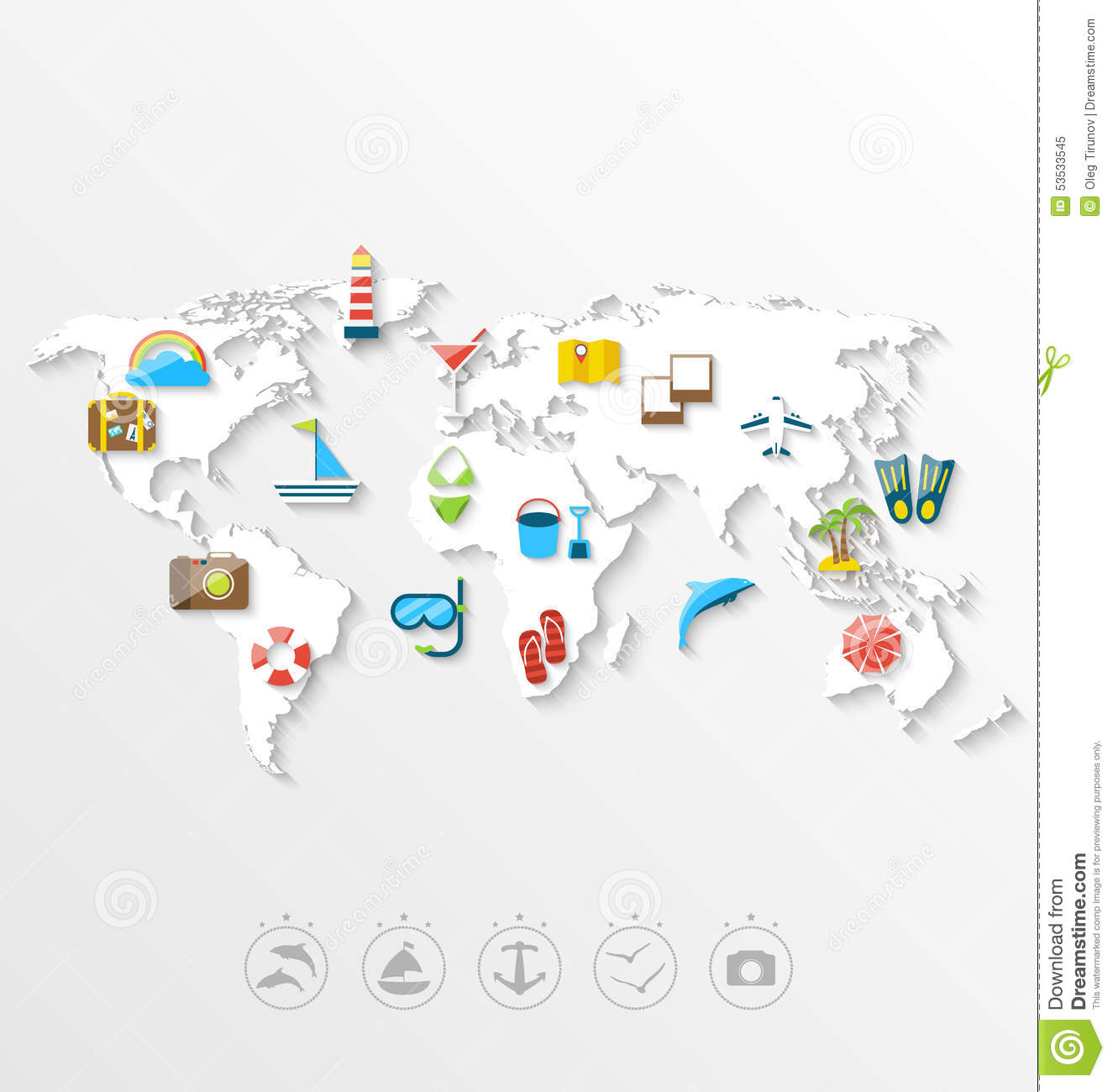 Map of world travel concept simple colorful flat icons stock vector download comp gumiabroncs Choice Image