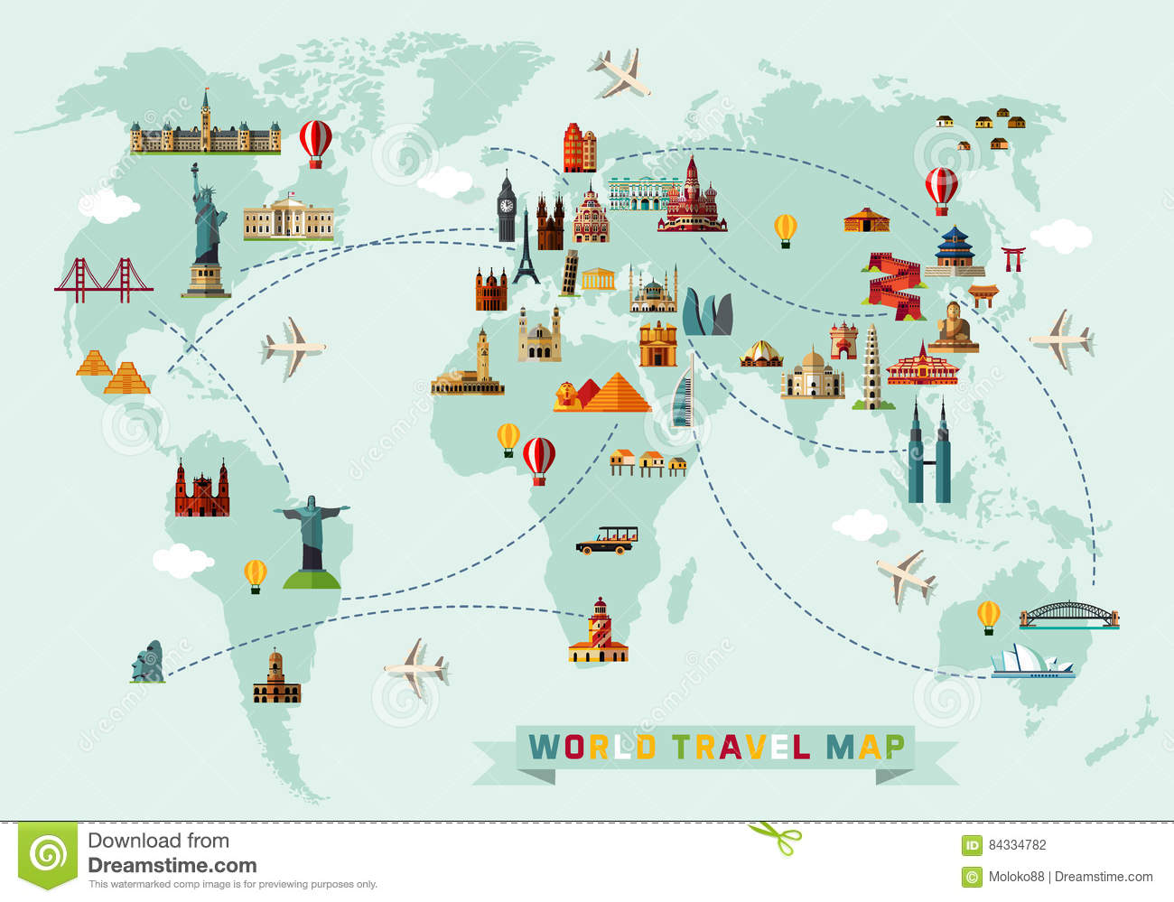 Map of the World and Travel Icons.