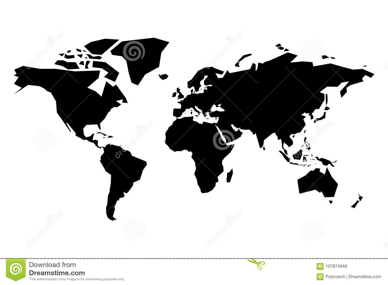 Map of World vector silhouette. Simplified black map on white background
