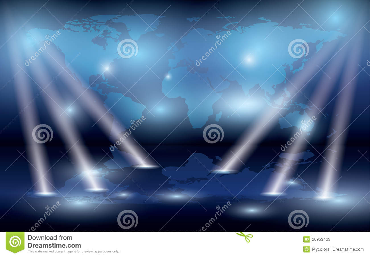 Map Of The World On The Wall And Lights - Eps Stock Photos - Image: 26953423