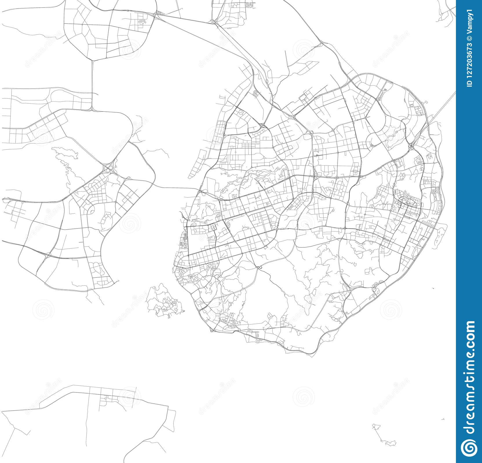 Map Of Xiamen Fujian Province Satellite View Black And White Map