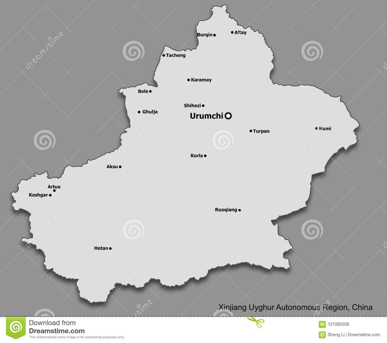 Map Xinjiang.Map Of Main Cities Of Xinjiang Uyghur Autonomous Region China Stock