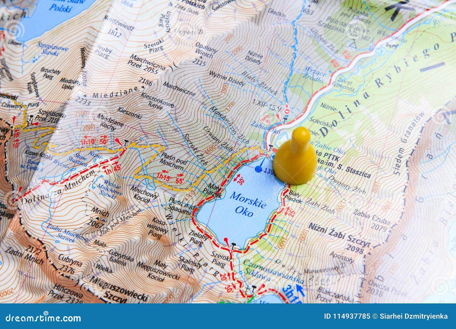 map of zakopane close up. walking route through the mountains