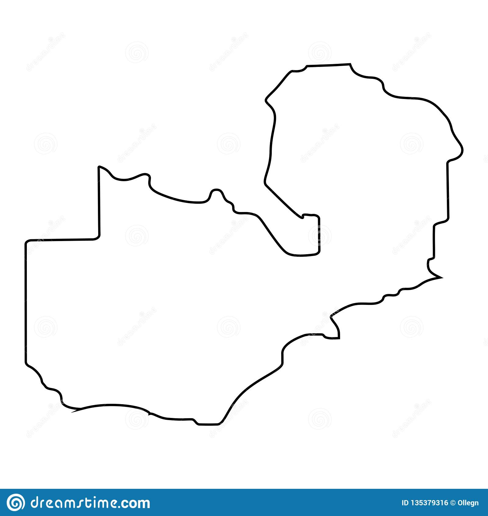 Zambian Map Vector.Map Of Zambia Outline Stock Illustration Illustration Of