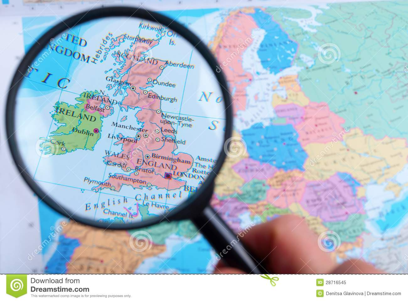 Map Of England Zoom.Map And Zoom Lens England Stock Image Image Of Background 28716545
