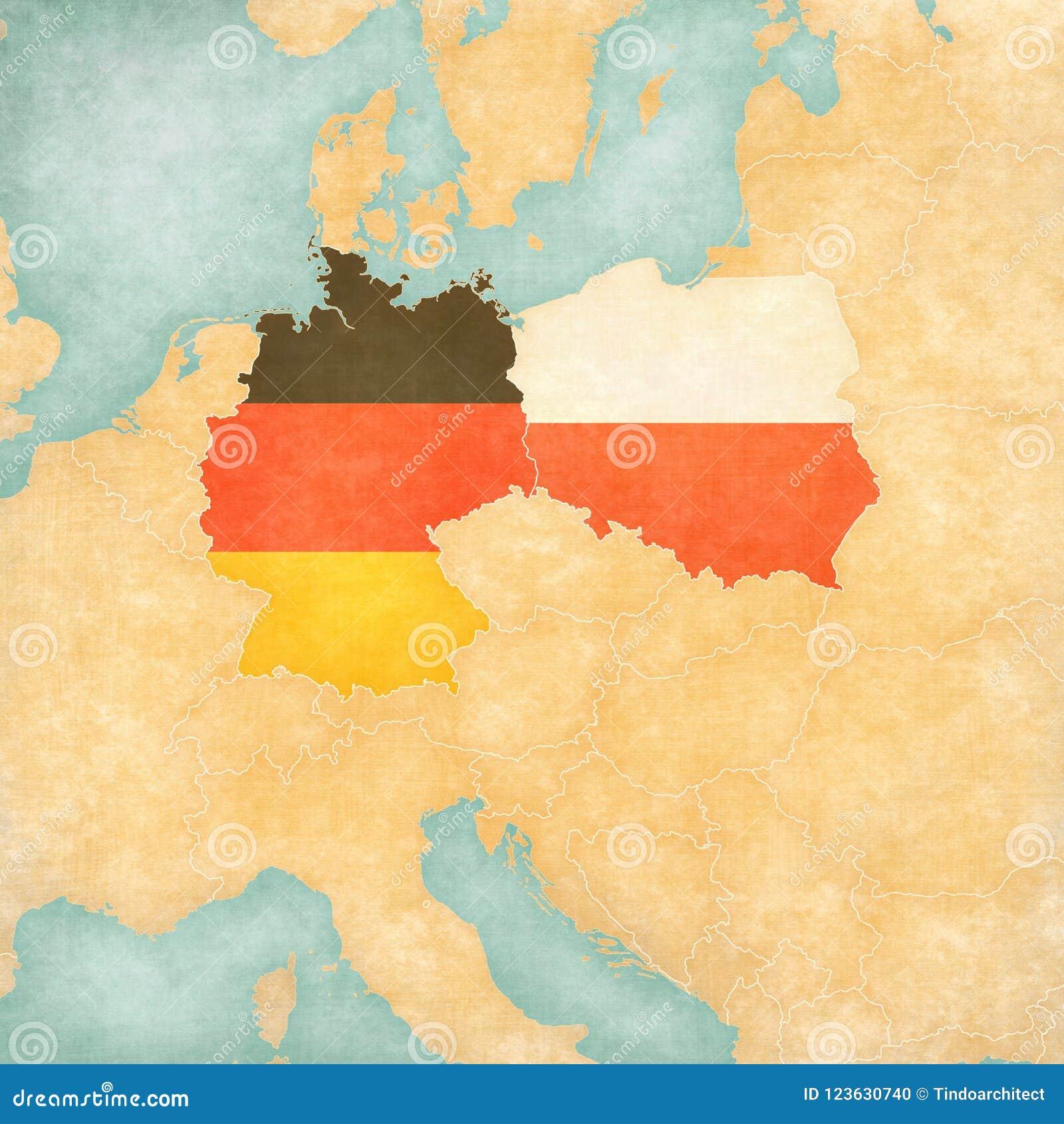 Mapa Srodkowy Europa Niemcy I Polska Ilustracji Ilustracja