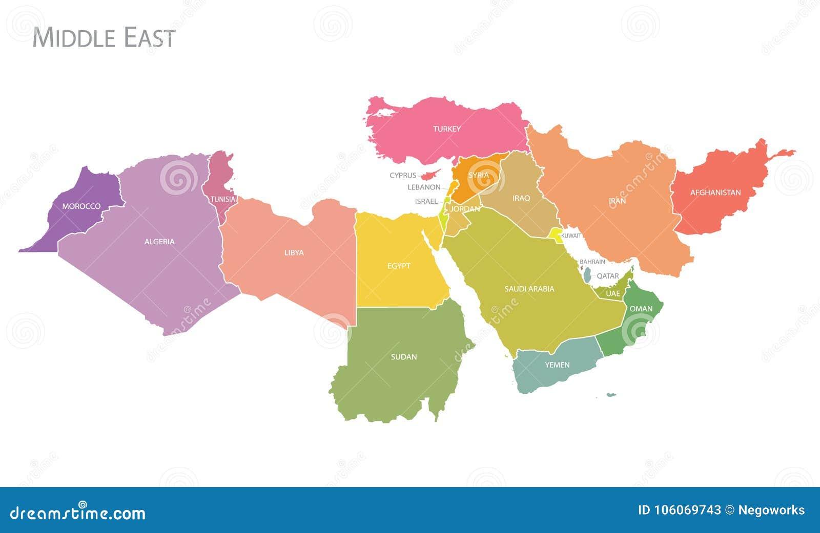 Mapa Środkowy Wschód wektor