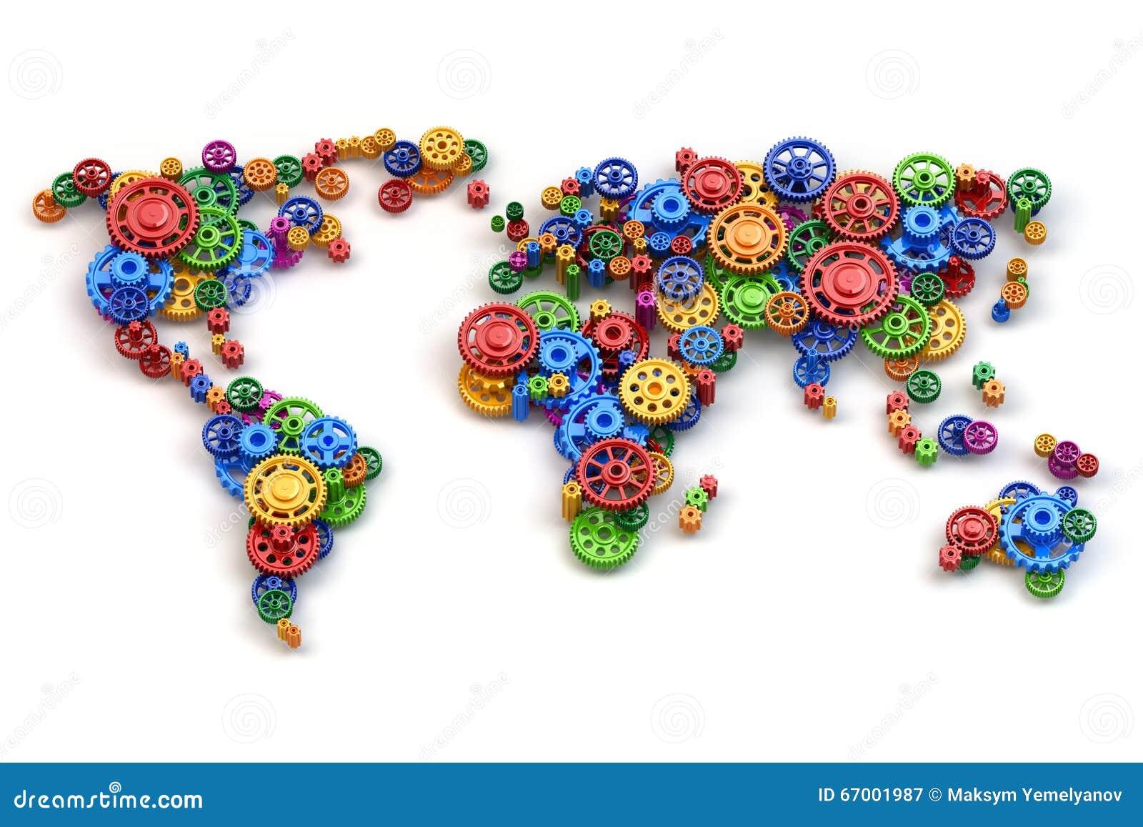 Mapa świat od przekładni Globalnej gospodarki inte i związki