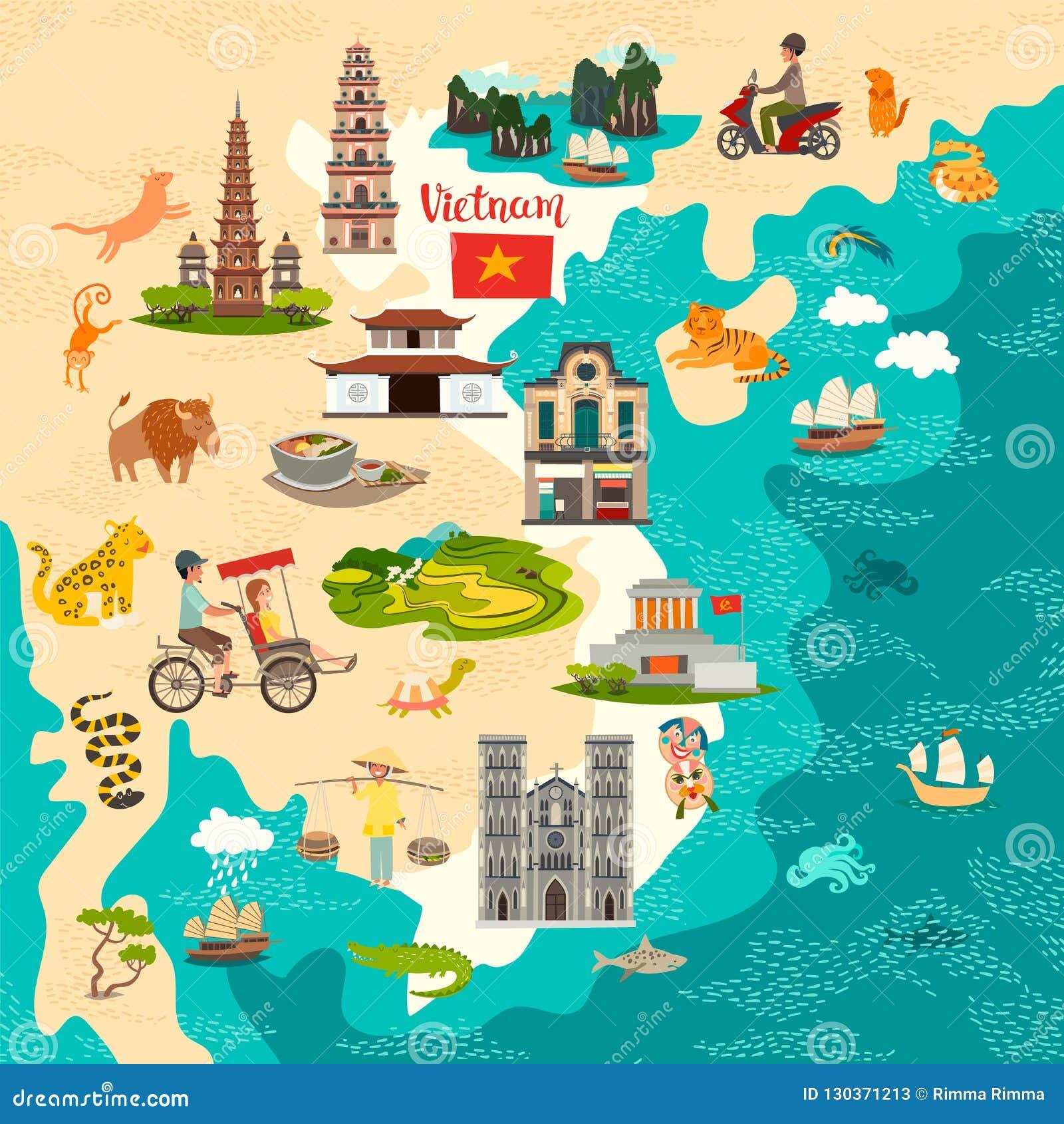Mapa abstrato de Vietname Cartaz colorido do vetor Ícones velhos do navio e do riquexó
