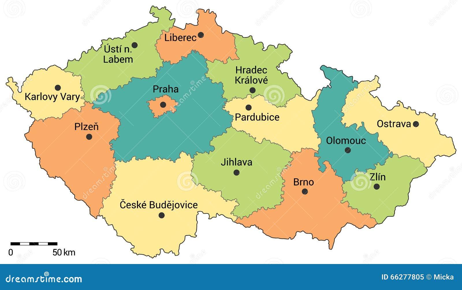 Mapa Administrativo De La República Checa Ilustración Del Vector