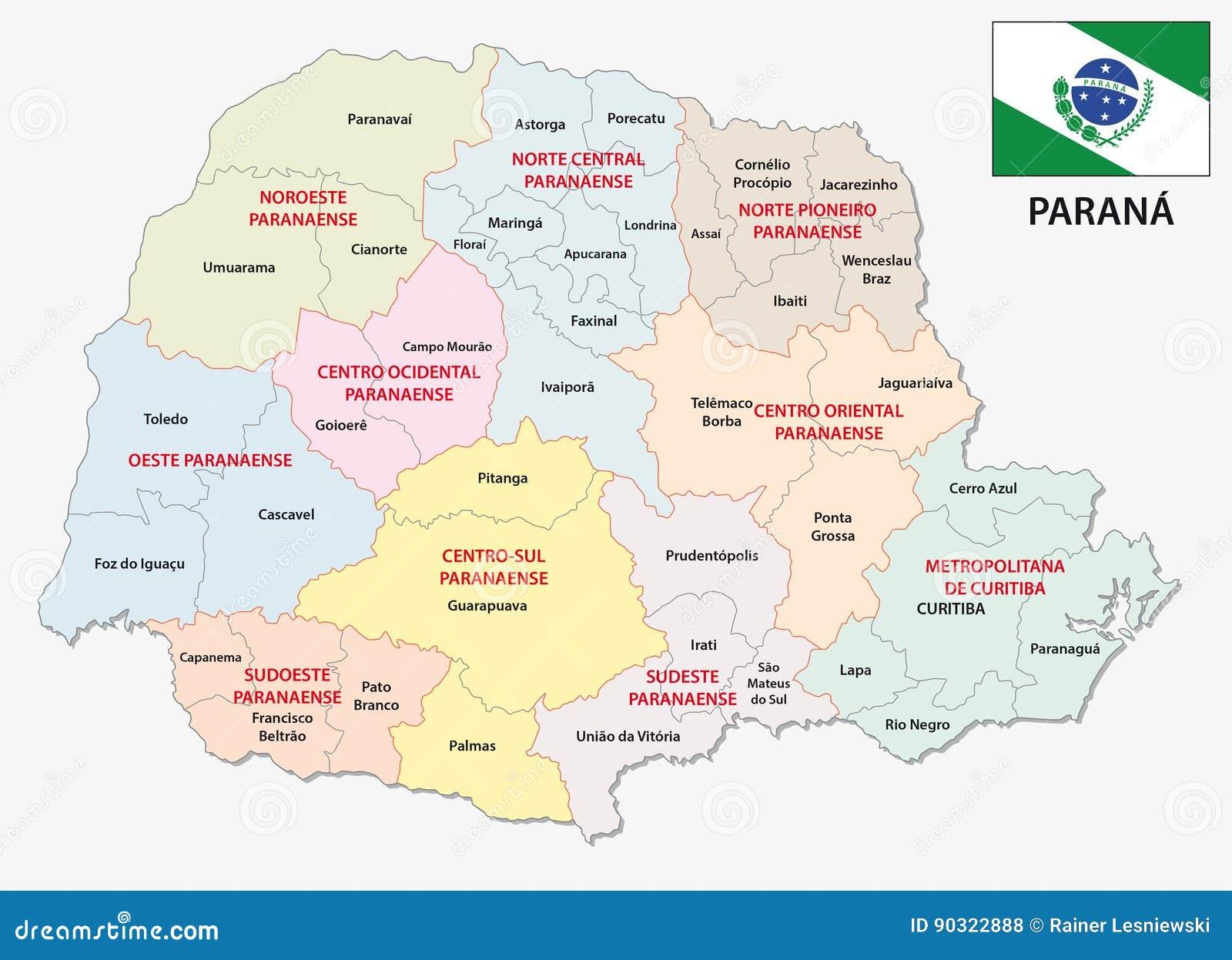 paraná mapa Mapa Administrativo E Político De Parana Bandeira Ilustração  paraná mapa