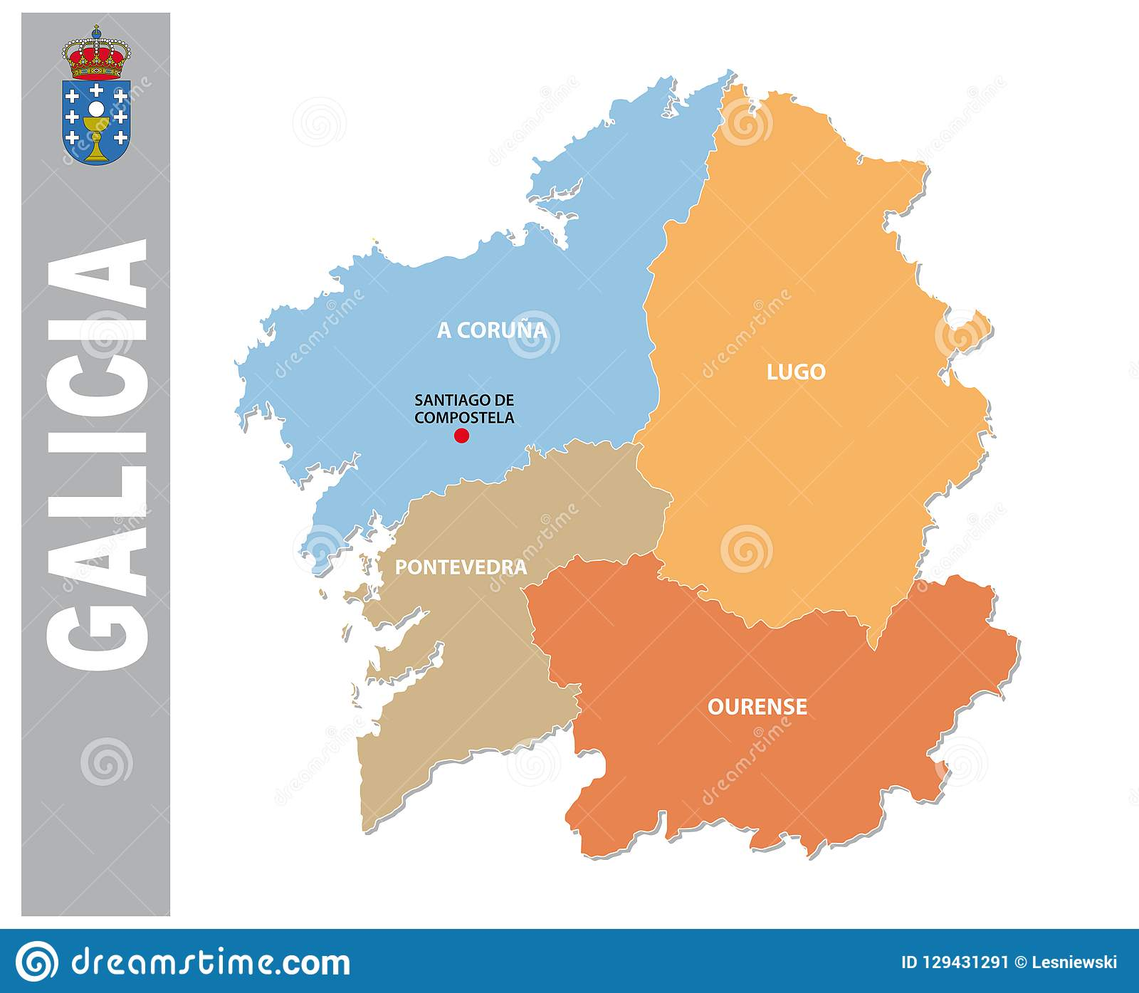 Mapa Administrativo Y Politico De Galicia Colorida Del Vector Con