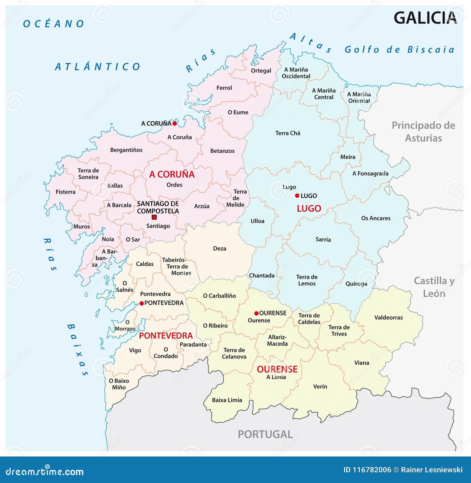 Mapa Administrativo Y Politico De Galicia Del Vector Espana