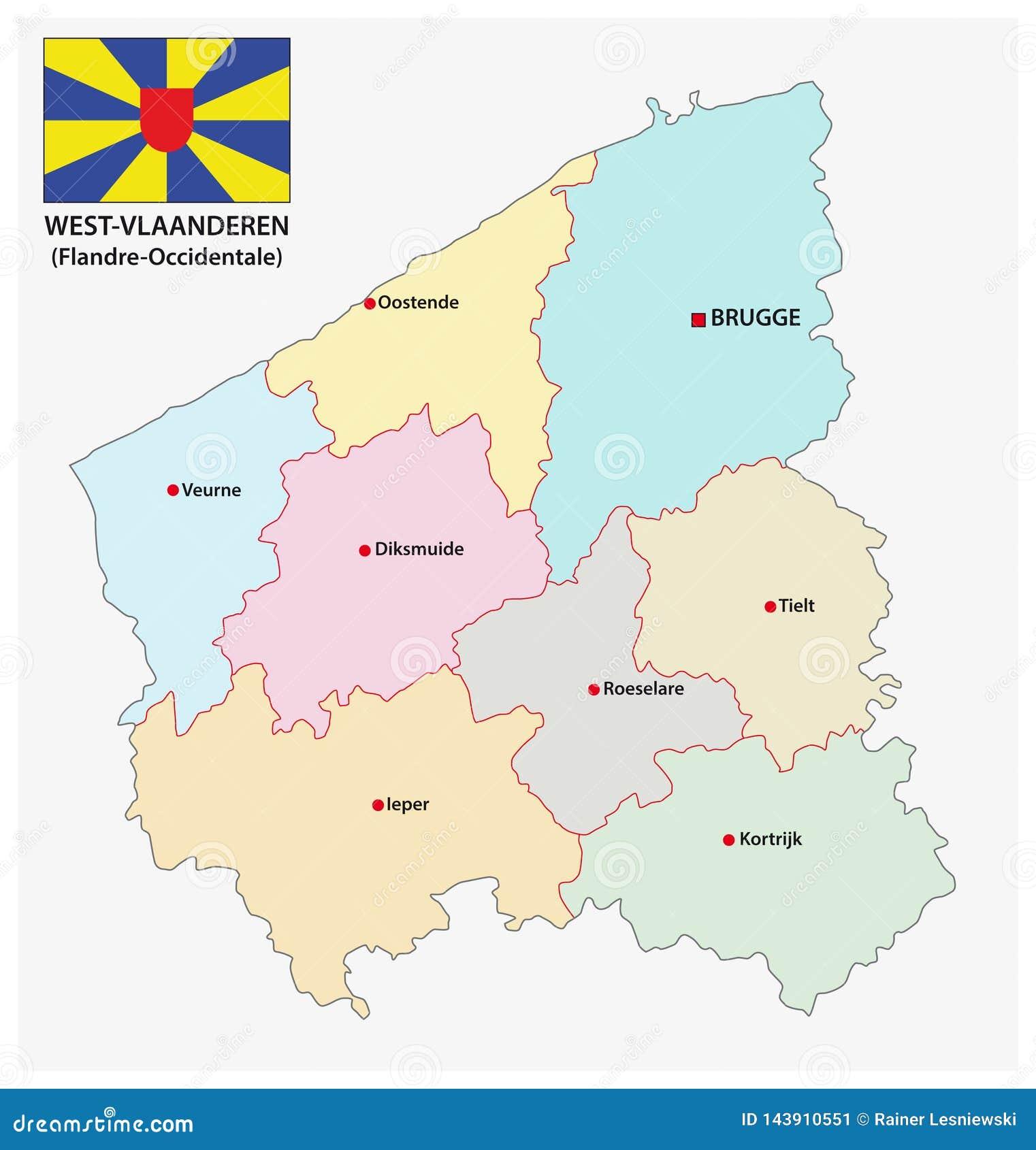 Mapa Administrativo Y Politico Del Vector De La Provincia Belga