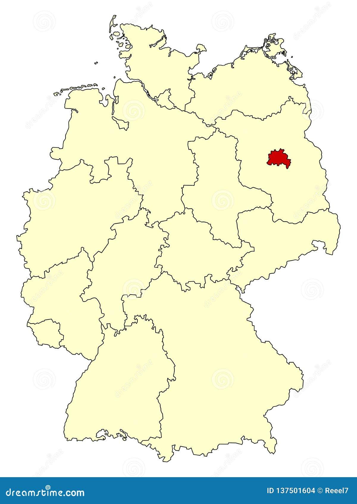 Mapa amarelo de Alemanha com estado federal Berlim isolada no vermelho