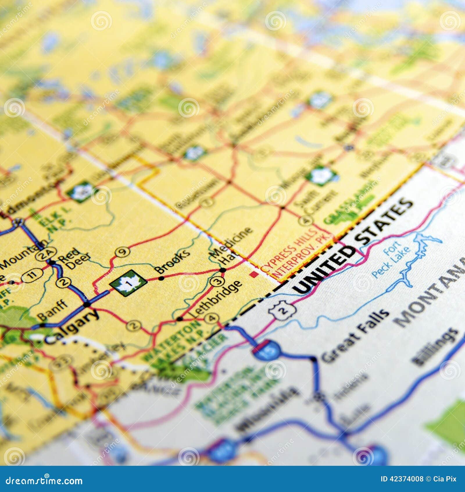 Mapa americano e canadense da beira
