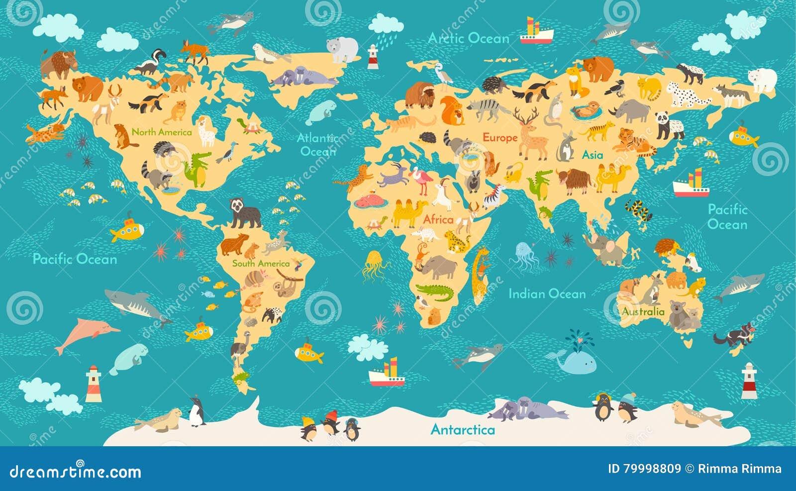 Mapa Animal Para A Crianca Cartaz Do Vetor Do Mundo Para Criancas