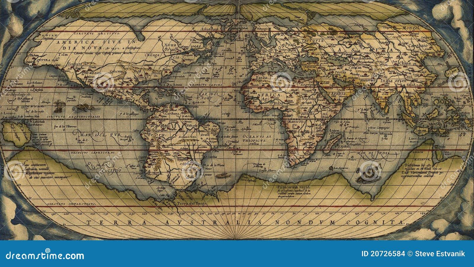 mapa do mundo antigo Mapa antigo do mundo imagem de stock editorial. Ilustração de  mapa do mundo antigo
