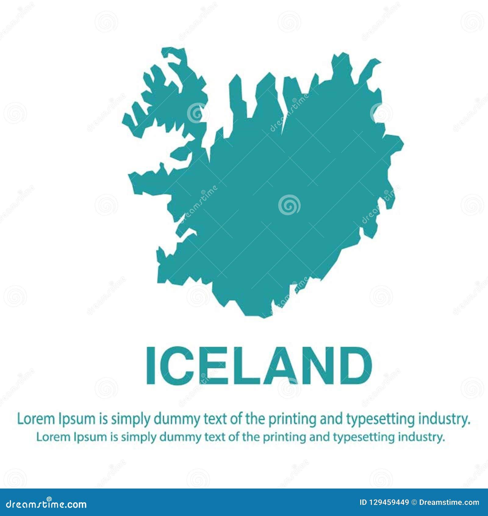 Mapa azul abstracto de Islandia con estilo plano del fondo blanco concepto global del tono medio del mapa del mundo